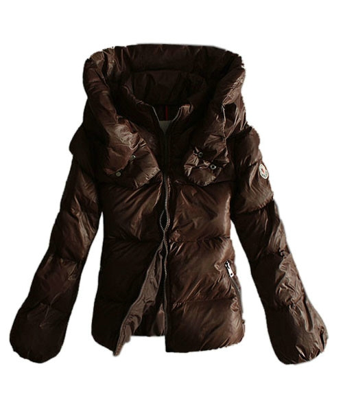 Moncler Winter Jackets Women Pure Color Coffee Double Collar