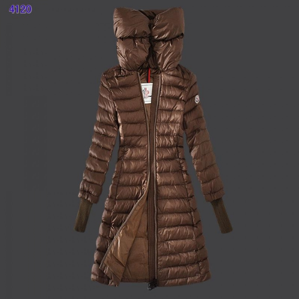 Moncler Women Coat High Stand Collar Windproof Coffee