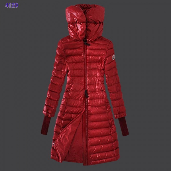 Moncler Women Coat High Stand Collar Windproof Red
