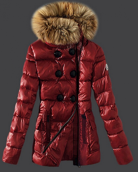 Moncler Women Down Coat Fur Collar Red