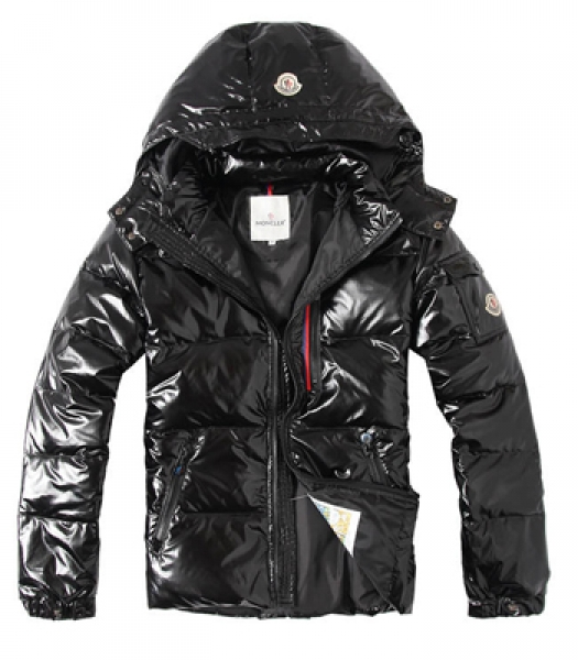 Men Moncler Black Hooded Down Jacket Waterproof