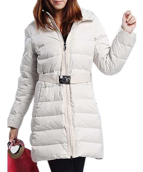 Moncler Women Down Coats Zip Belt Decorative Tunic White