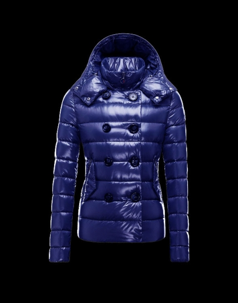 Moncler Women Down Double Breasted Jackets Blue