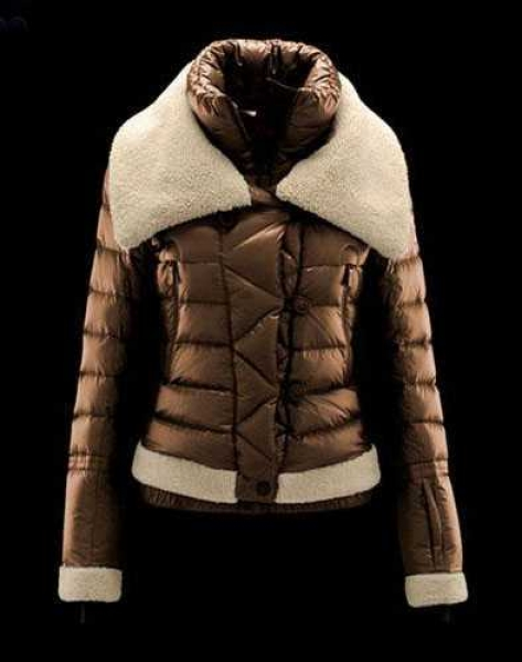 Moncler Women Down Jacket Double Stand Collar Coffee
