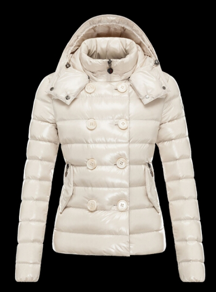 Moncler Women Down Jacket Plain Hood Removable Ivory