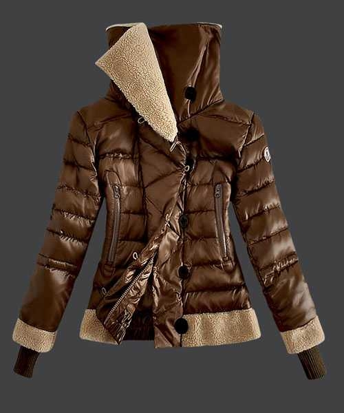 Moncler Women Down Jackets Double Stand Collar Coffee