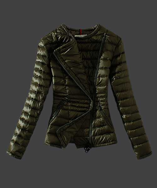 Moncler Women Down Jackets Featured Zip Army Green
