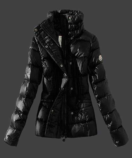 Moncler Women Down Jackets Stand Collar Slim Black