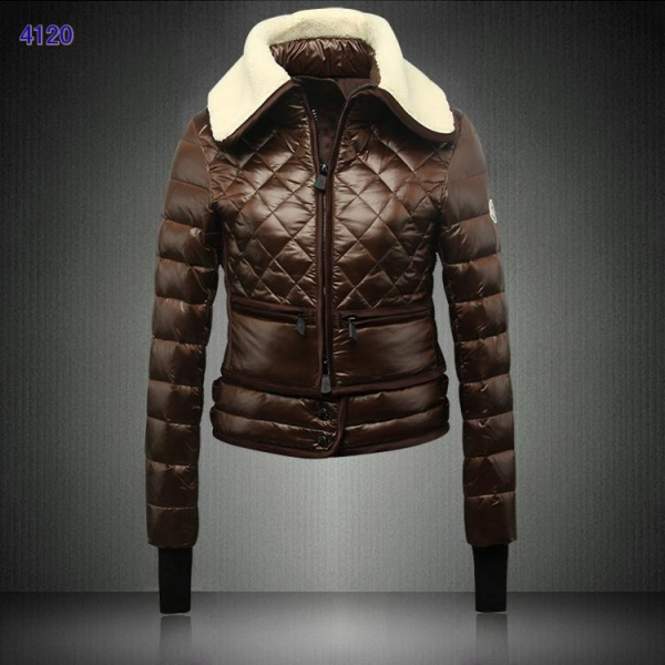 Moncler Women Fur Collar Down Jackets Coffee