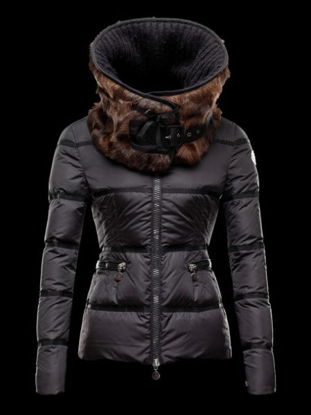 Moncler Women Jackets Mink Black Fur Collar