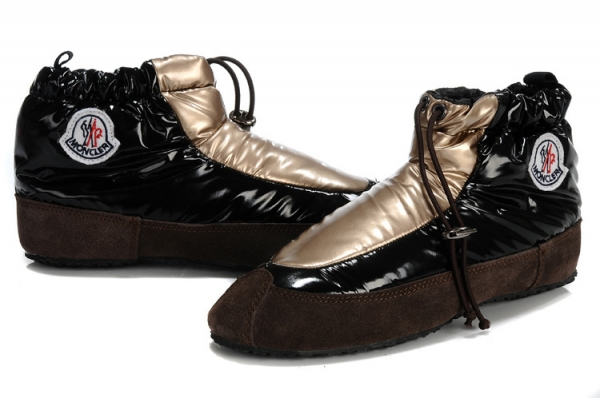 Moncler Women Low Boot Black Gold For Sale