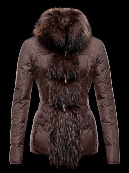 Womens Moncler Down Coat Fur Brown Coat Winter Jacket