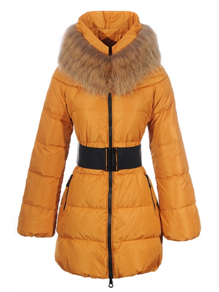 Womens Moncler Wild Coats Fur Collar Yellow