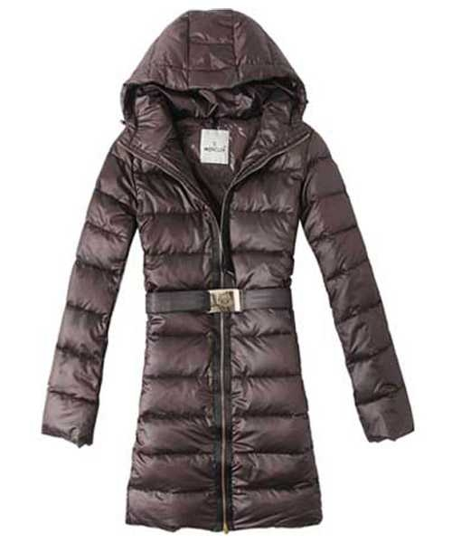 Moncler Hot Sell Down Coat Women With Belt Hooded Tunic Brown