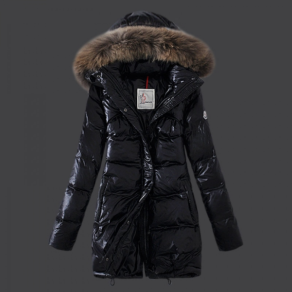 Moncler Jacket Coat Women fur Hooded Black