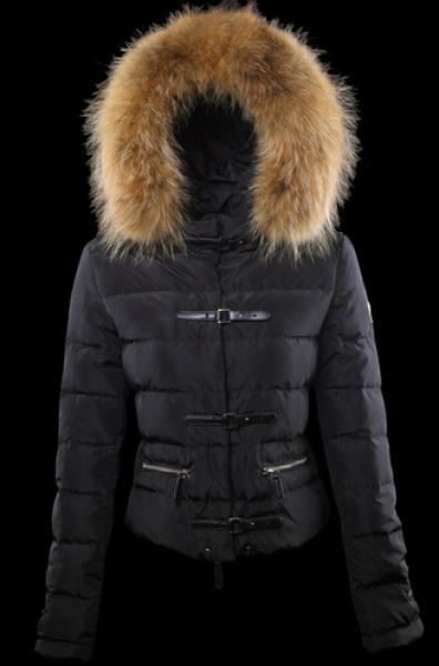Moncler jacket for women fur hood Black
