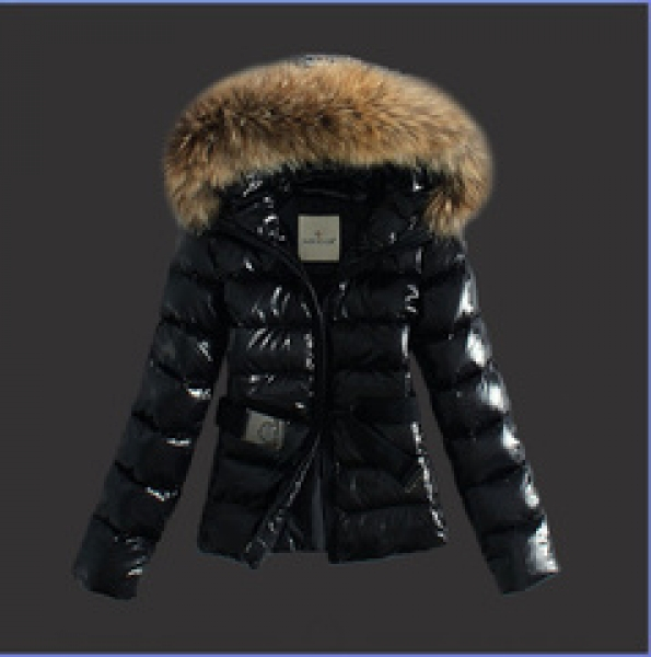 Moncler Jackets For Women Black With Fur Cap