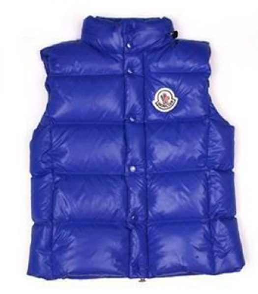 Mens Moncler Quilted Body Sleeveless Vest Blue Coat