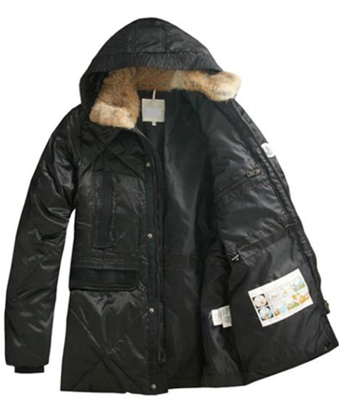 Moncler Men Coat Mid Length Hooded Down Black