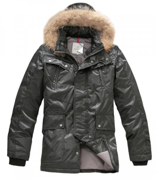 Moncler men down coats with hood mid-length black
