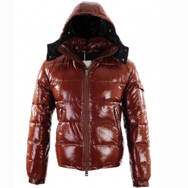 Moncler Men Jacket Hooded Emboss Zippy Brown For Sale