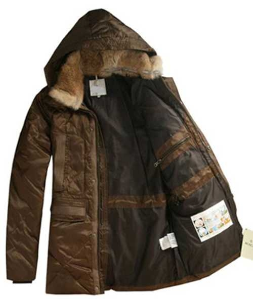 Moncler Mens Coat Mid Length Hooded Down Coffee