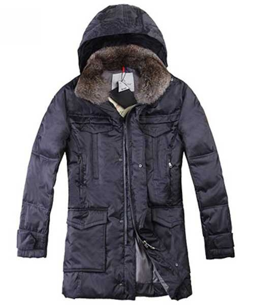 Moncler Mens Coat Mid Length Hooded Down Navy Blue