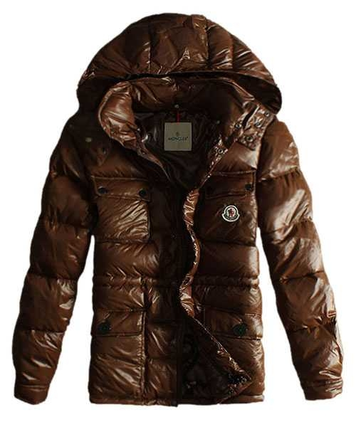 Moncler Mens Jackets Design Multi Pockets With Cap Coffee