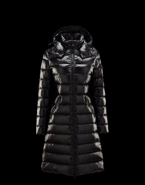Moncler Moka Coats Women Black Hooded Jackets