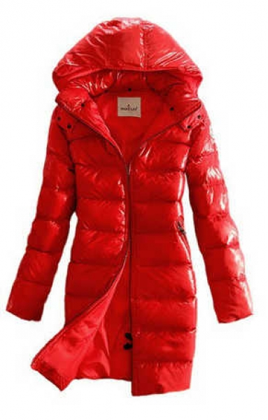 Moncler Moka Long Down Coats Women Red