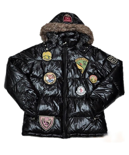 Moncler Multiple Logo Men And Women Down Jacket Hooded Black