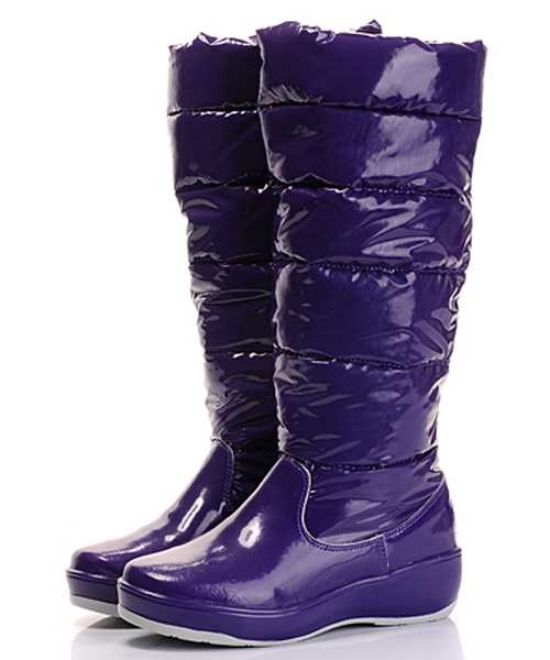 Moncler Nible Boots Women Glossy Purple Tall Casual