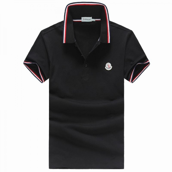 2018 Moncler New Italy Silk Cotton Limited Polo Classic LOGO Black