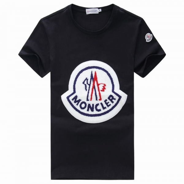 2018 Moncler New Italy Silk Cotton Limited T Shirt Big White LOGO Black