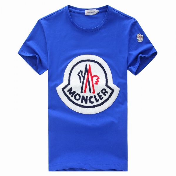 2018 Moncler New Italy Silk Cotton Limited T Shirt Big White LOGO Blue
