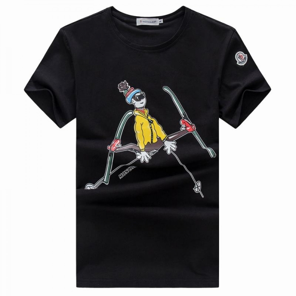 2018 Moncler New Italy Silk Cotton Limited T Shirt Cartoon Ski Black