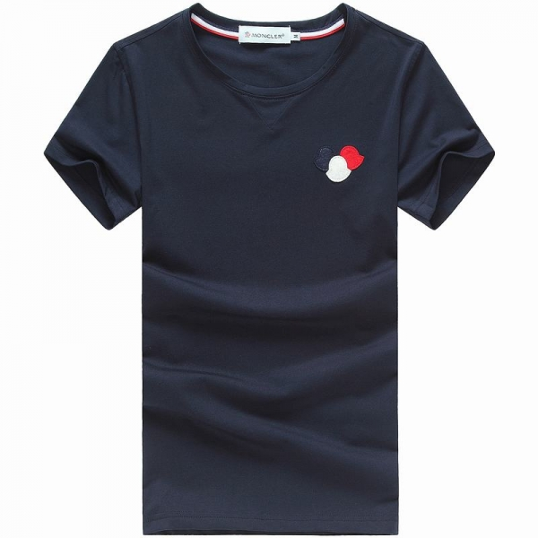 2018 Moncler New Italy Silk Cotton Limited T Shirt Tricolor LOGO Dark Blue