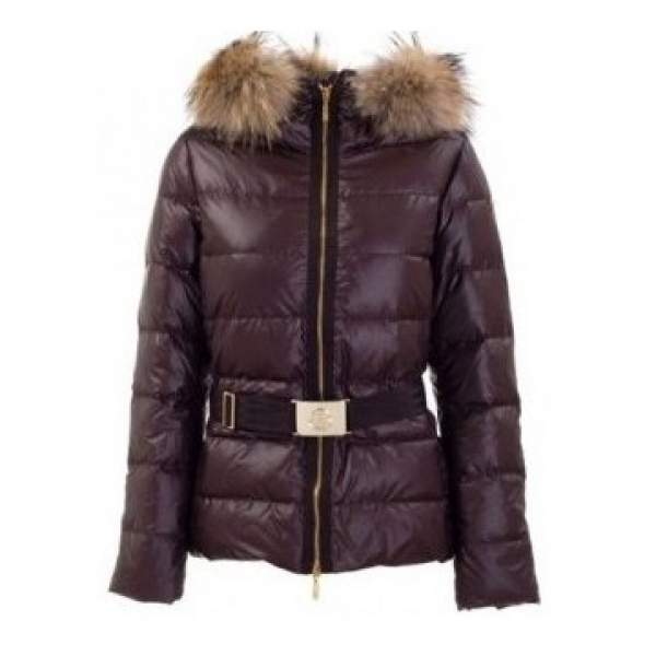 Moncler Angers Hooded Navy Brown Jacket Women