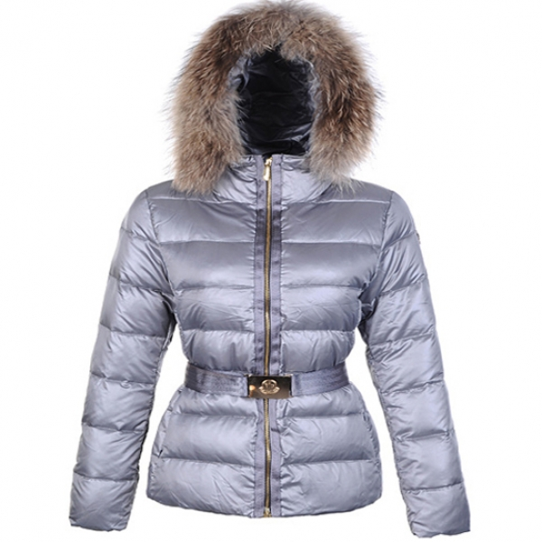 Moncler Angers Women Jacket Belted Silver For Sale