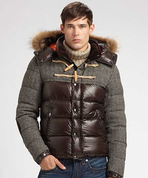 Moncler Anthime Jackets Mens Single Breasted Brown