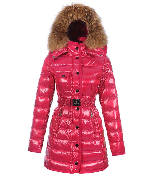 Moncler Armoise Coat For Women Rose Red Long