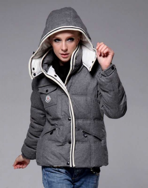 Moncler Bady Winter Women Down Jacket Zip Hooded Grey