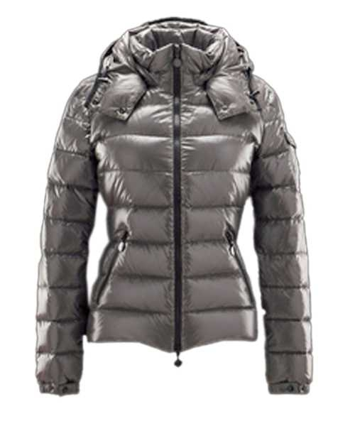 Moncler Bady Winter Women Down Jackets Zip Hooded Silver Gray