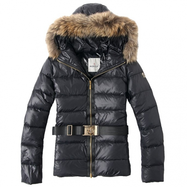 Moncler Belt Zip Black Coat Women
