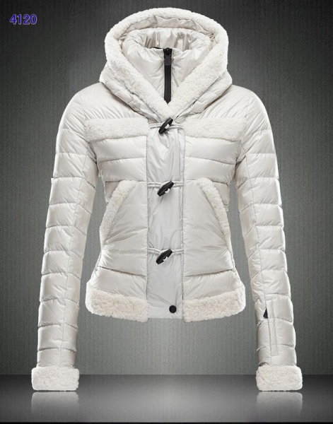 Moncler Blended Collar Style Women Down Jackets White