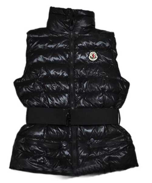 Moncler Branson Women Down Vest Belt Decorative Black