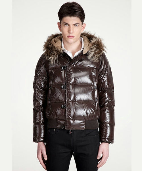 Moncler Bulgarie Men Down Jackets Short Brown