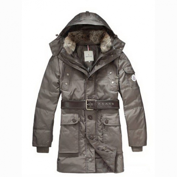 Moncler Casual Mens Coat Hooded With Belt Khaki For Sale