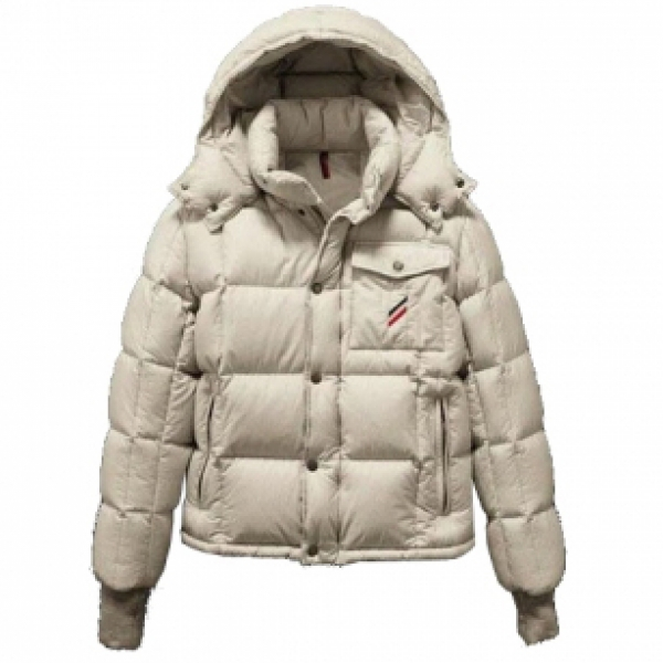Moncler Cezanne Men Quilted Hooded Jacket Cream For Sale