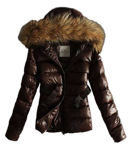 Moncler Classic Jackets Women Hooded With Belt Coffee